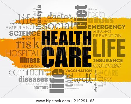 Health Care word cloud collage health concept background