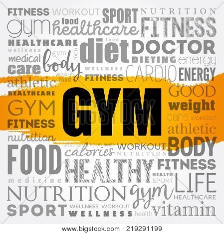GYM word cloud collage background health concept