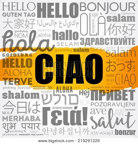 Ciao (Hello Greeting in Italian) word cloud in different languages of the world background concept