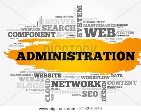 Administration word cloud technology business concept background