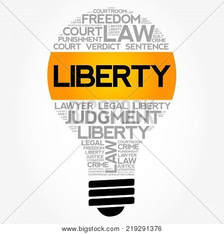 Liberty bulb word cloud collage law concept background