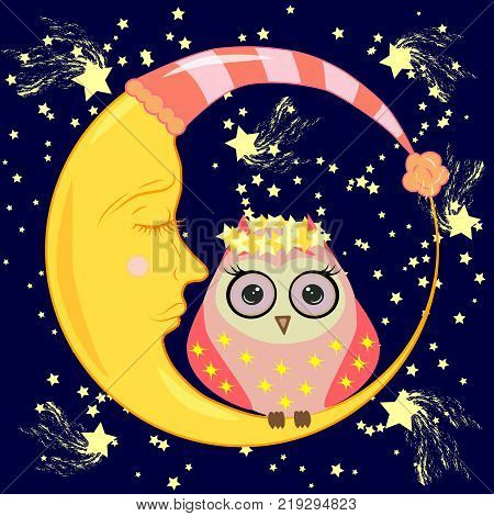cute cartoon owl in circles with closed eyes sits on a drowsy crescent moon among the stars