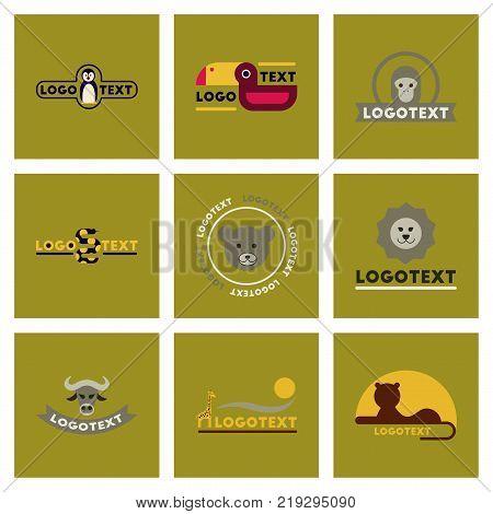 assembly of flat icons nature logo bear lion giraffe penguin snake monkey bird bull