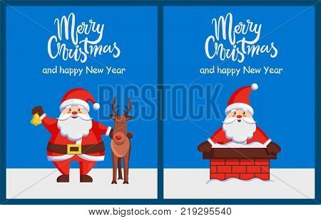 Merry Christmas and Happy New Year posters with Santa Claus with friendly horned deer, sitting in chimney vector n smiling Xmas symbol postcard design