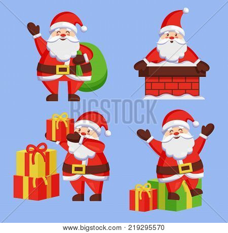 Santa Clauses set of icons. Saint Nicholas with bag going to present gift boxes, Father Christmas in chimney made of bricks, playing outdoors vector