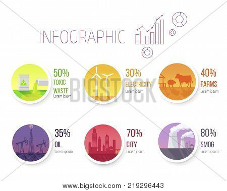 Toxic waste, electricity usage, farms quantity, oil extracting, city square and smog spreading infographic vector illustration.