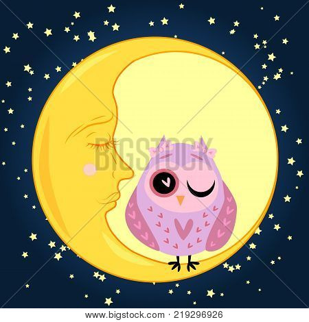 cute cartoon sleeping owl in circles with closed eye sits on a drowsy crescent moon among the stars