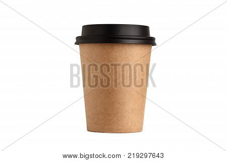 Blank take away kraft coffee cup isolated on white background
