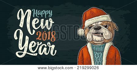 Dog Santa claus in hat, coat, sweater. Happy New Year 2018 calligraphy lettering. Vintage color engraving illustration for poster. Isolated on white background