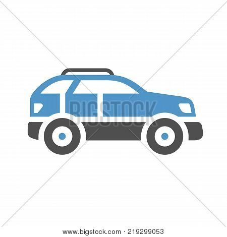 SUV - gray blue icon isolated on white background