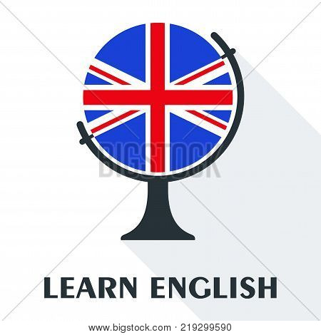Bright flat vector banners with globe for English language learning. Courses of foreign language, schools for studying British pronunciation. Information for site, social network, poster and flyer.