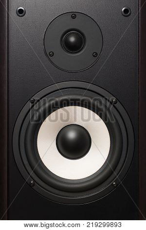 front of the audio speaker with a white round speaker