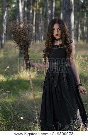 Young beautiful and mysterious woman with Broom in woods, in black Dress, image of forest elf or witch