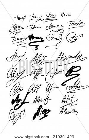 Collection of vector signatures fictitious Autograph. Signature for convention. Signature document