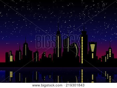 Night City Skyline. Cityscape Background, Beautiful night sky with stars over city buildings vector illustration