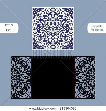 Paper openwork square greeting card wedding invitation template for cutting lace imitation cut on plotter metal plate cut by laser vector illustration poster