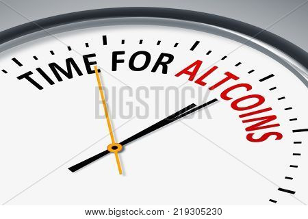 An illustration of a typical clock with text time for altcoins