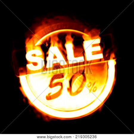 An illustration of a fire sale 50%