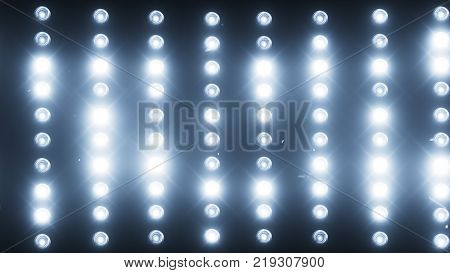 A wall of light projectors, a flash of light 3d illustration
