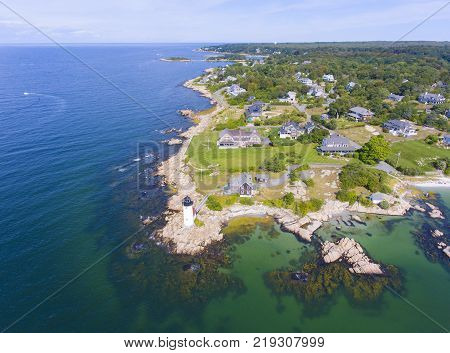Annisquam Harbor Lighthouse aerial view, Gloucester, Cape Ann, Massachusetts, USA. This historic lighthouse was built in 1898 on the Annisquam River.