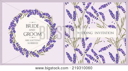 Vector wedding invitation with high detailed lavender flowers
