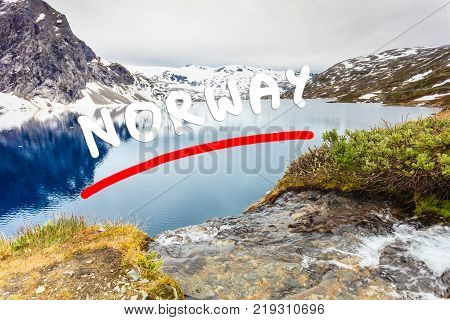 Tourism holidays and travel. Djupvatnet lake in Stranda More og Romsdal Norway Scandinavia.