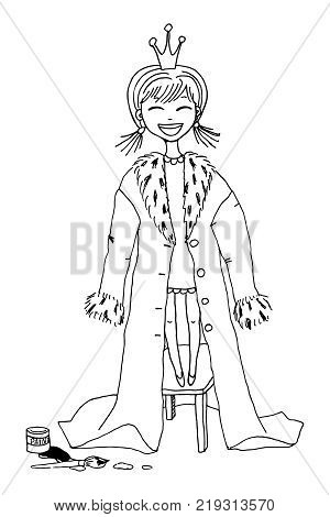 Little princess outline vector illustration. Cute laughing naughty girl in a crown who made a queen's ermine gown out of her mother's coat. Coloring pages for kids.