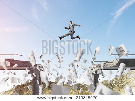 Businessman jumping over gap in bridge among flying papers as symbol of overcoming challenges. Skyscape with sunlight and nature view on background. 3D rendering. poster