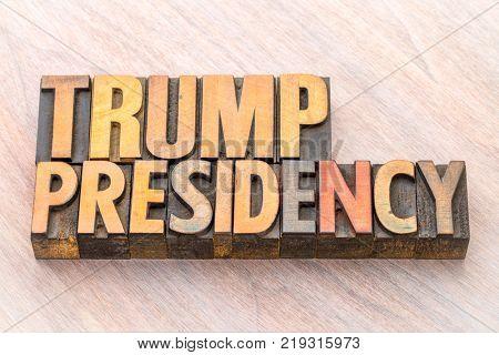 Trump presidency word abstract in vintage letterpress wood type
