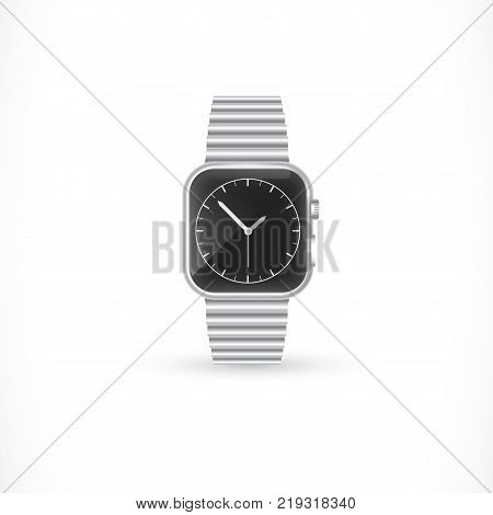 Stylish wristwatch with metallic bracelet. Personal accessory, elegance, accuracy. Time concept. Can be used for greeting cards, posters, leaflets and brochure