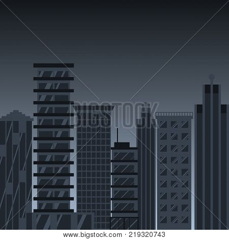 Black city. Vector illustration flat design. Isolated on night background. City skyscrapers on a gloomy background. Big blank urban. Street with high houses buildings.