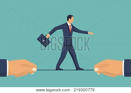 Business risk concept. Businessman is walking a tightrope. Businessman hold rope in hand. Vector illustration flat design. Isolated on background.