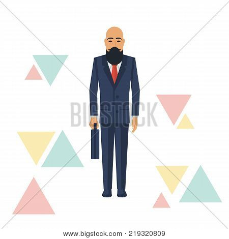 Businessman hipster holding briefcase isolated on white background. Vector illustration flat design. Male bearded with mustache cartoon character. Office manager in a business suit. Confident man.