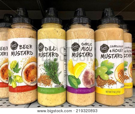 Brea CA - December 05 2017: Grocery store shelf with bottles of Sam's Choice brand mustards. Sam's Choice is a private label brand created by Cott Beverages for Wal-Mart stores.