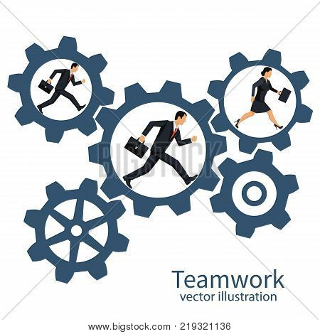 Collaboration concept. Teamwork business metaphor. Team businessmans running inside gear mechanism. Vector illustration flat design. Isolated on background. People together rotate mechanism system.