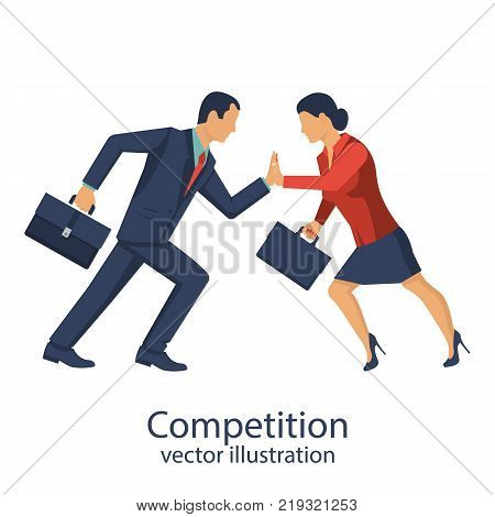 Competition concept. Business people. Conflict businessman woman. Symbol rivalry competition. Vector illustration flat design. Corporate conflict. Disagreements people. Disagreement confrontation.