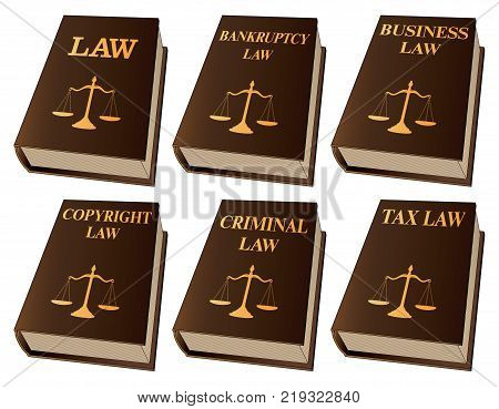 Law Books is an illustration of six law books used by lawyers and judges. They include books on law, bankruptcy law, business law, copyright law, criminal law, and tax law. Represents legal matters and legal proceedings.