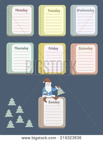 The sheets of the planner for weekly planning with the names of the days of the week and Christmas trees. Santa Claus. Diary.Vector illustration.