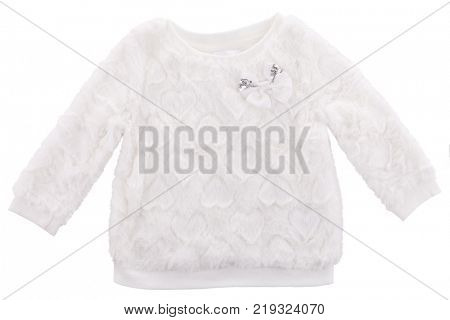 Baby sweater with faux fur isolated on white