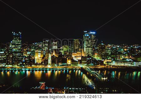 Pittsburgh, Skyline, Downtown, Night View, United States, December 2017