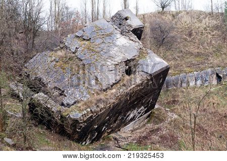German Fortifications In The Polish Pomerania. Bunkers Of The Pomeranian Embankment Destroyed By The