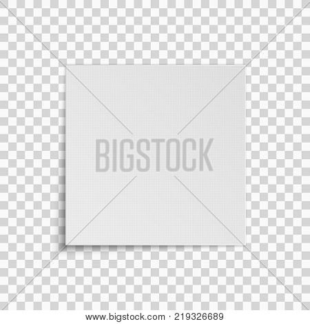 Realistic square white sheet of paper isolated on a transparent background. Pattern of dots. Template for your project. Vector illustration