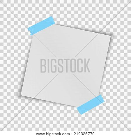 Realistic square white sheet of paper isolated on a transparent background. Blue scotch tape. Template for your project. Vector illustration