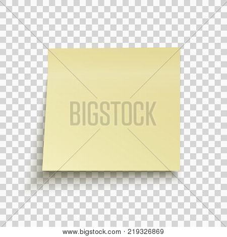 Yellow sticky note isolated on transparent background. Office note for work. Template for your project. Vector illustration.