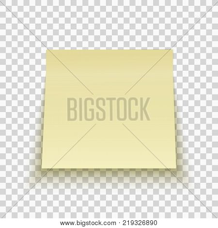 Yellow sticky note isolated on transparent background. Office note. Template for your project. Vector illustration.