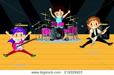 Musicians and Mucical Instruments Rock music group with musicians concept of artistic people vector illustration. Play guitar guitarist drummer solo guitarist characters performs on stage. Rock star