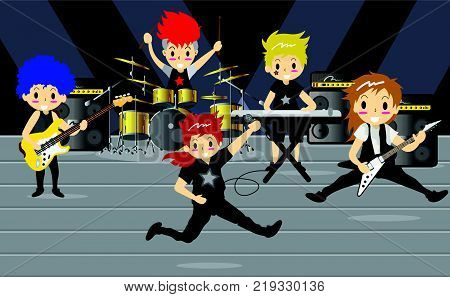 Musicians and Mucical Instruments Rock music group with musicians concept of artistic people vector illustration. Boy Group Play guitar Singer guitarist drummer solo guitarist bassist keyboardist characters performs on stage. Rock star.