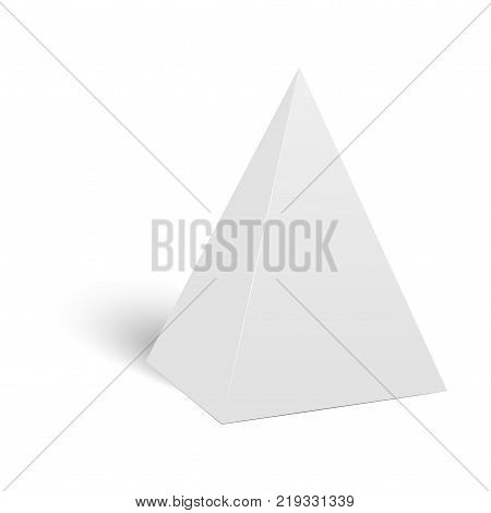 White cardboard pyramid triangle box packaging for food, gift or other products. Vector.