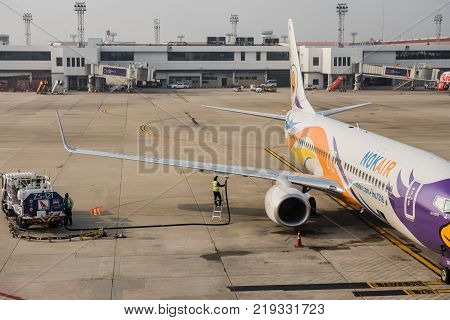 BANGKOK THAILAND - December 15 : Nok Air aircraft in Don Mueang International airport on December 15 2017 Nok Air company is the largest low cost airlines in Thailand.