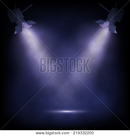 Stage witt spotlights. Vector theater or show background